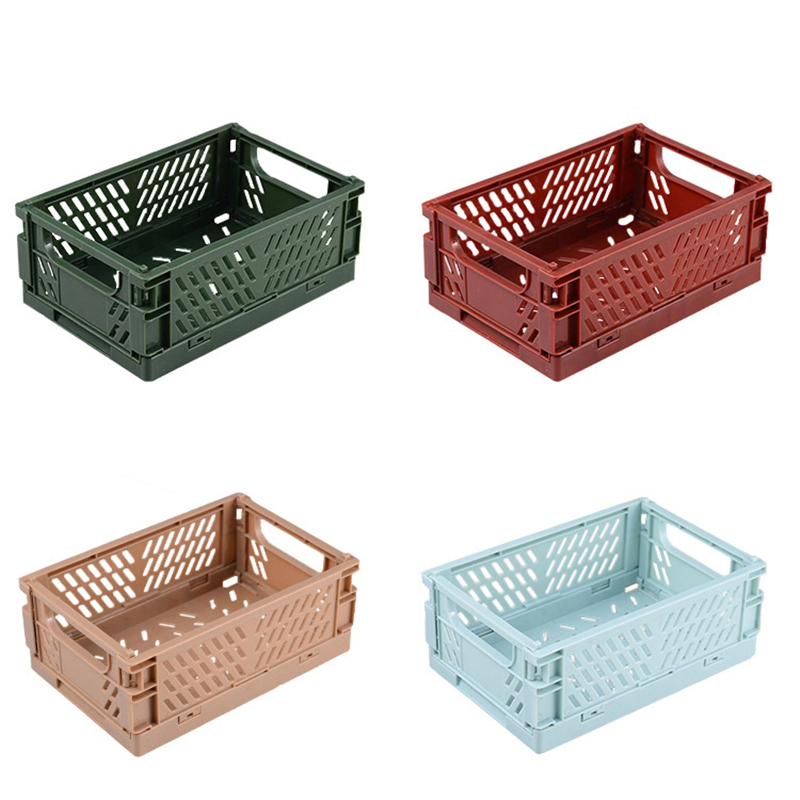 4pcs/lot Collapsible Basket Folding Storage Box Crate Plastic Container Durable Transportable Foldable Basket Random Colours