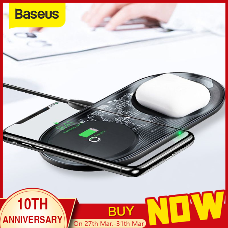 Baseus 15W Dual Wireless Charger para iPhone 11 Pro Max X XS Max XR Almohadilla de carga inalámbrica visible para Samsung Galaxy Note 10 Plus Note 9 8 S10 S9 Carga para Airpods title=