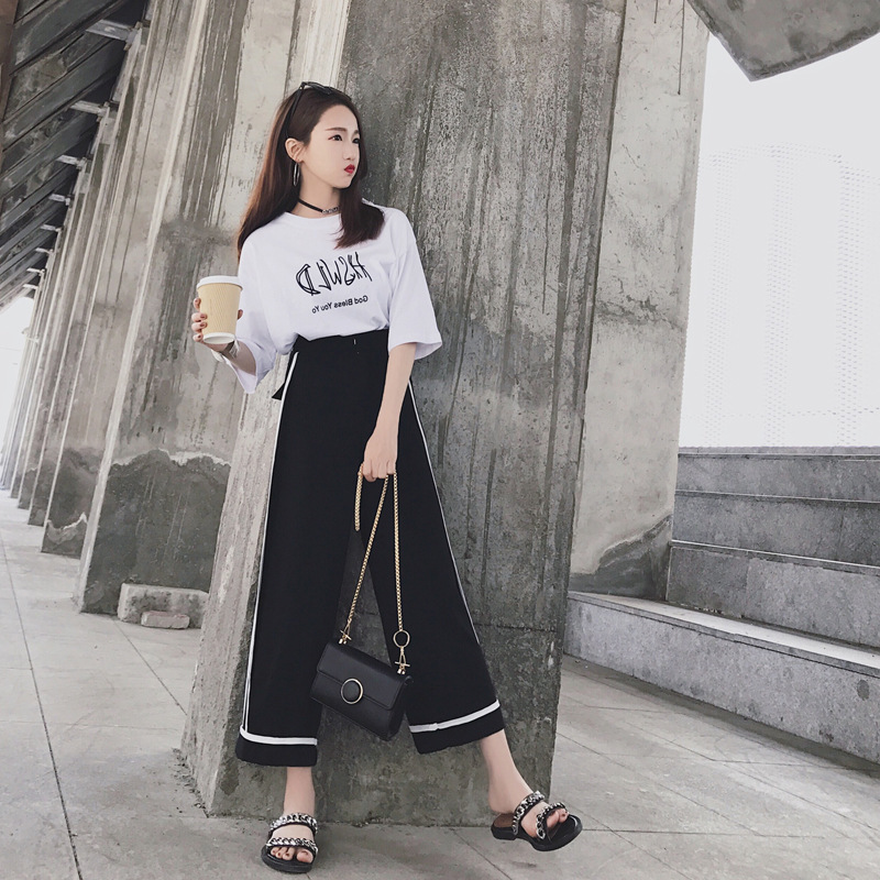 Fat Mm2019 New Style Large Size Dress Spring And Summer Western Style Set Short Half-sleeve Shirt Loose Pants Two-Piece Set Spor