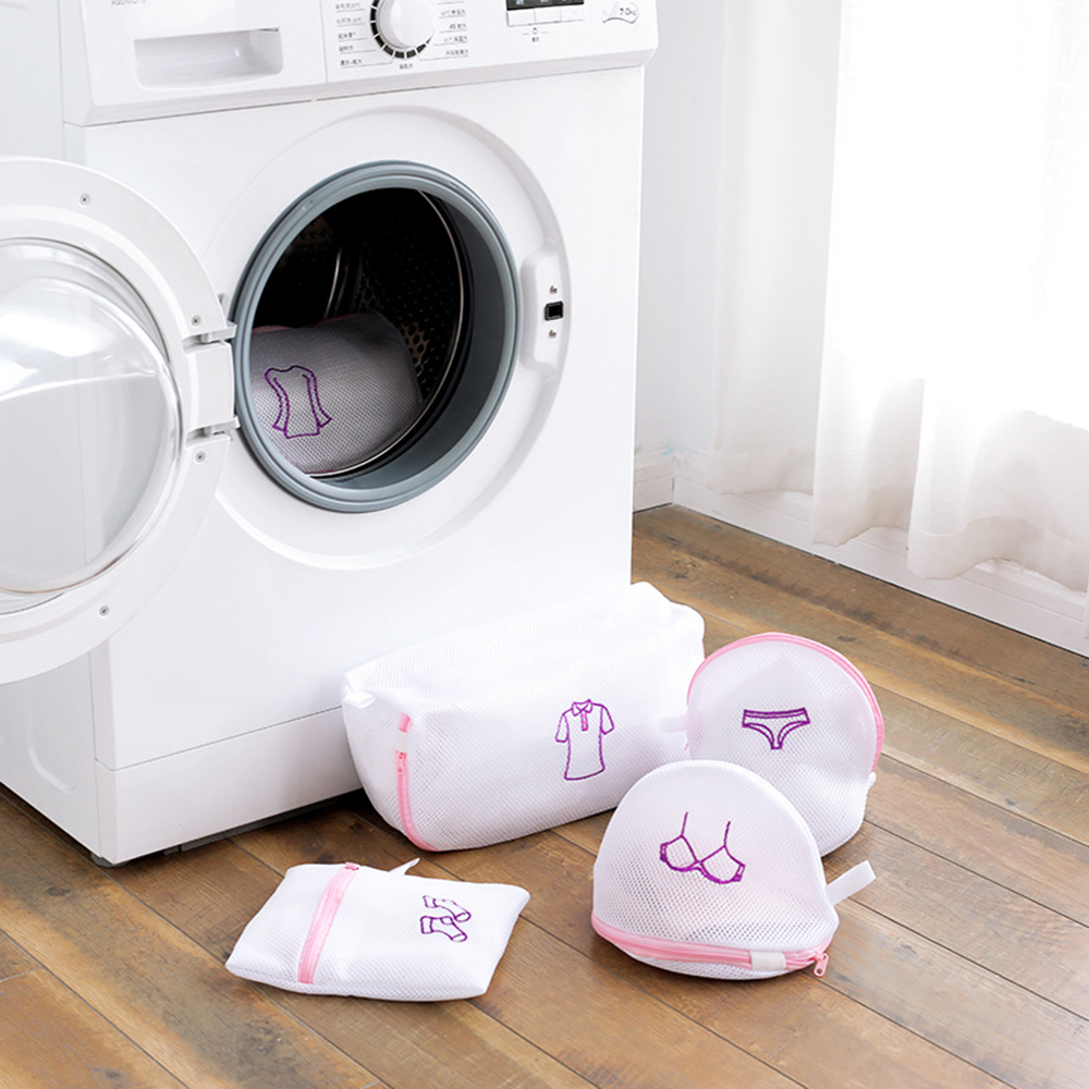 Çamaşır makinesi kirli çamaşır torbası iç çamaşırı çamaşır örgü fermuarlı  çanta giyim iç çamaşırı organizatör temizleme çantası sutyen yıkama Net  çanta Çamaşır Torbaları