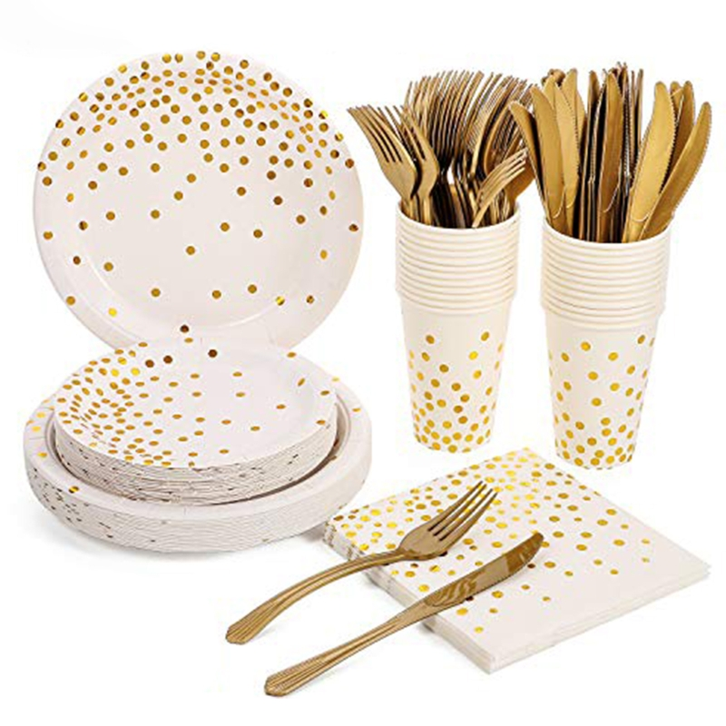 150pcs Disposable Dinnerware Set Tableware Party Supplies 25 Guests Dinner Plate