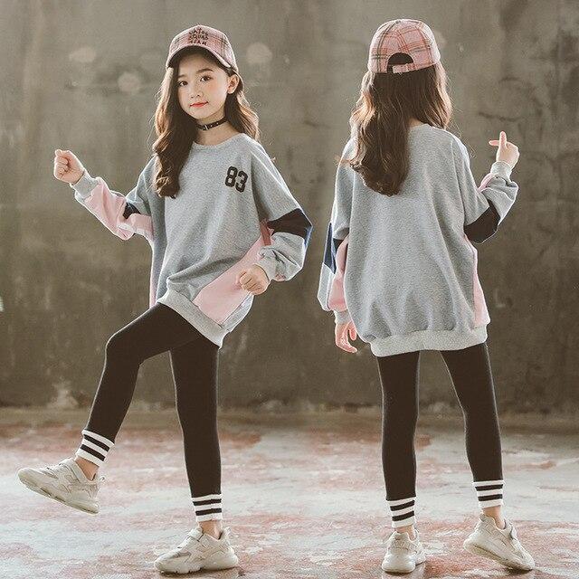 Trẻ Em Phù Hợp Với Áo Cotton Mùa Thu Trang Phục Hai Mảnh Quần Áo Bộ Áo + Trắng/Quần Legging Xám 2020 Cô Gái Boutique Trang Phục Cho Bé quần Áo