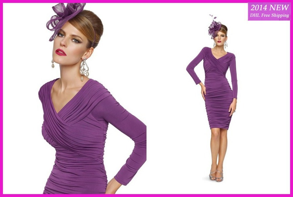 Newest! Purple Fashion Mother V Neck With Long Sleeve Knee Length Pleat Chiffon Mother Of The Bride Dresses WE-16