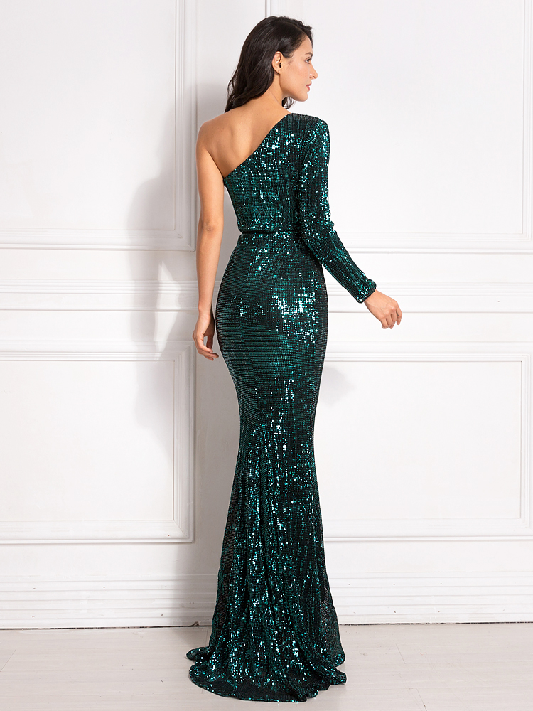 One Shoulder Stretchy Backless Sequin Long Bridesmaid Dress 13
