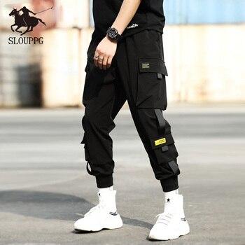 2019 Hip Hop Streetwear pantalones negros de correr para hombres bolsa lateral Pantalones deportivos cintas pantalones casuales de cintura elástica pantalones Harem hombres