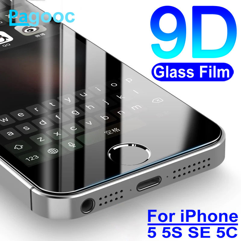 9D Tempered Glass On The For IPhone 5S 5 5C SSE Glass Screen Protector Full Cover For Apple IPhone SE 5S Protective Safety Film