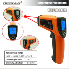 цена на DT8016H professional Digital Infrared thermometer LCD Display Laser IR Thermometer Thermograph High Temperature Tester Gun