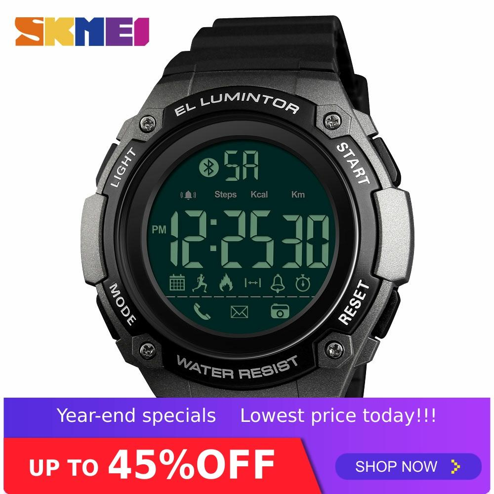 SKMEI 1347 Bluetooth Smart Digital Watch Mens 50M Waterproof Sport Watch Sleeping Monitor Backlight Calorie Tracker Man Watches