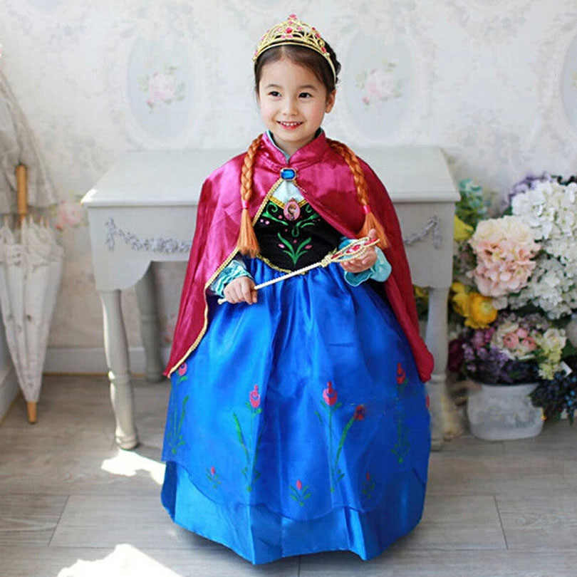 New Fashion Children Princess Anna Dress Elsa Costume Girls Dress Kids Girl's Dress Costumes Clothing Halloween 3-10 Years