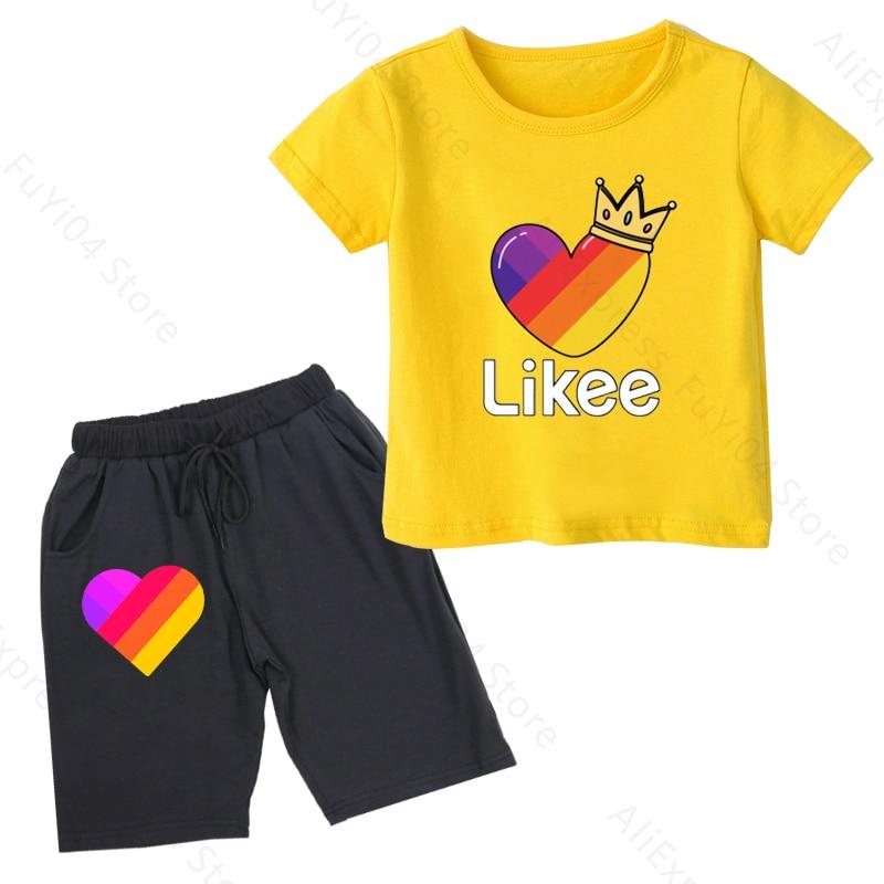 Купить likee kid t shirt 2pcs set boy clothes baby boys tops kids cute