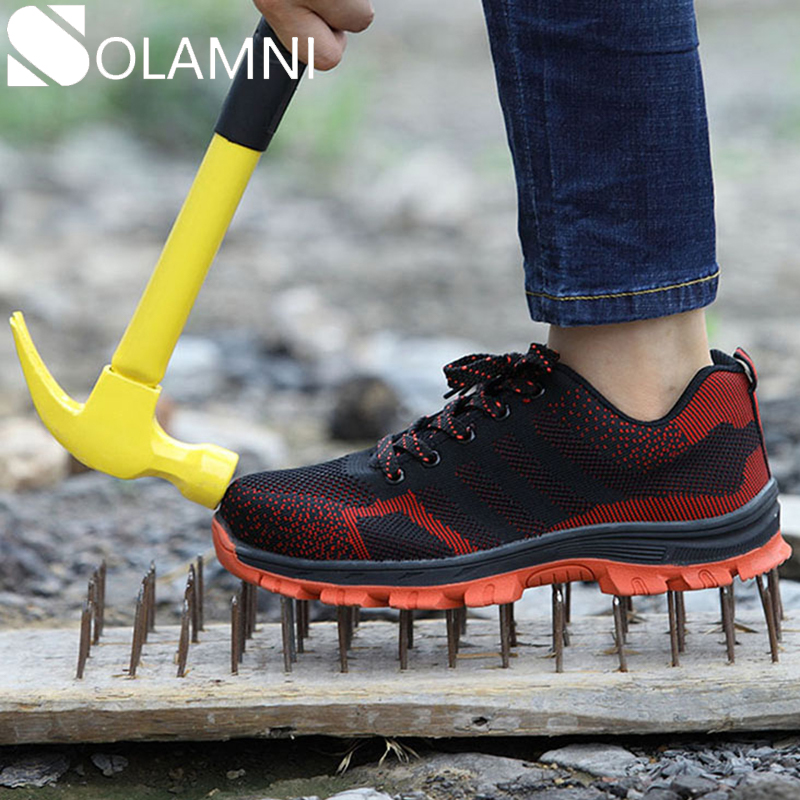 Men Steel Toe Safety Work Shoes Anti-Slip Puncture Proof Industrial Shoes Women Breathable Mesh Sneakers Male Construction Shoes