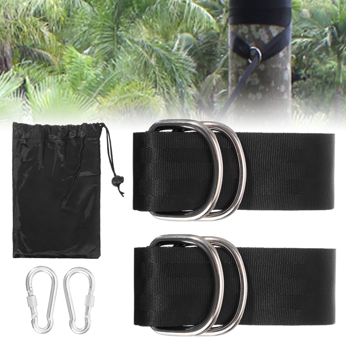 Heavy Duty Hammock Swing Tree Hanging Straps Rope Belt Hooks Carabiner Fittings