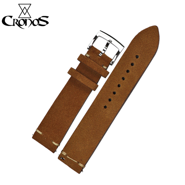 Cronos Watch Parts Genuine Leather Strap for Watch Flat Ends 20mm Stainless Steel Bronze Tongue Buckle Quick Release Spring Bars