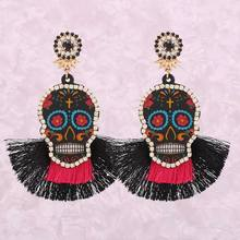 Statement Skeleton Head Oorbellen Handmade Resin Crystal Pendant Earrings For Women Bohemian Tassel Fashion Jewelry