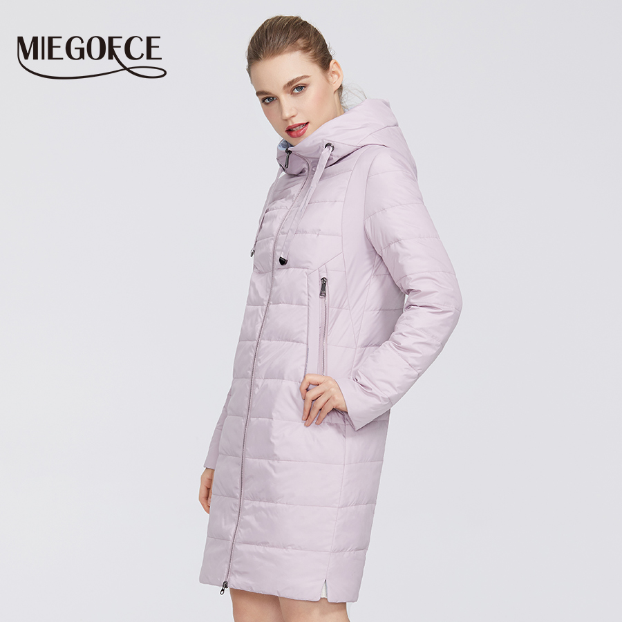 MIEGOFCE 2020 Designer Spring Collection Women Jacket With Zipper And Medium Knee Length Resistant Collar With Hood Women Coat