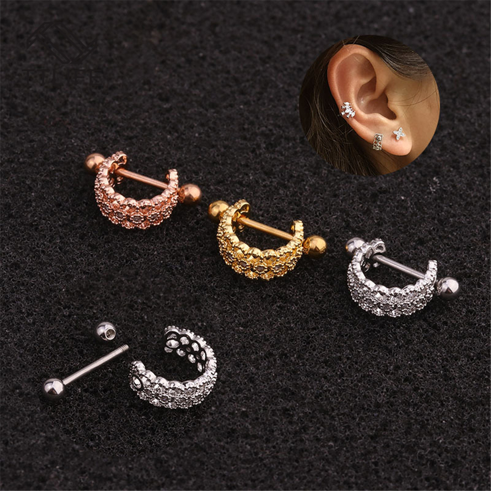 TTLIFE Stainless Steel CZ U Shape Cuff Clip Barbell Tragus Cartilage Helix Rook Conch Lobe Ear Piercing Earring Stud 20G