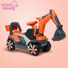 Детская блестящая машинка для езды на автомобиле, детский экскаватор, игрушка для балансировки, пластмассовый игрушечный грузовик, подарок на день рождения для От 2 до 6 лет