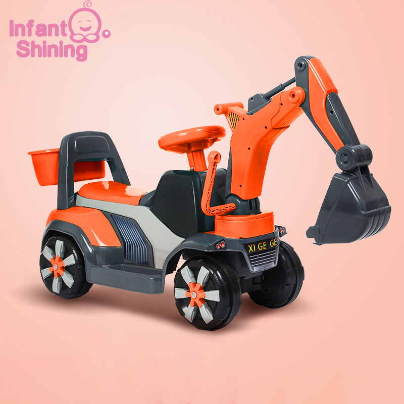 Infant Shining Baby Ride on Car Children Excavator Toy Kids Balance Car Plastic Toy Truck Birthday Gift for 2-6Y