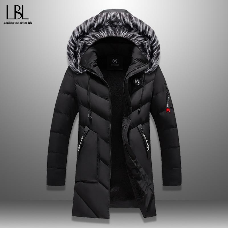 Winter Parka Men's Solid Jacket 2020 New Arrival Thick Warm Coat Long Hooded Jacket Fur Collar Windproof Padded Coat Fashion Men