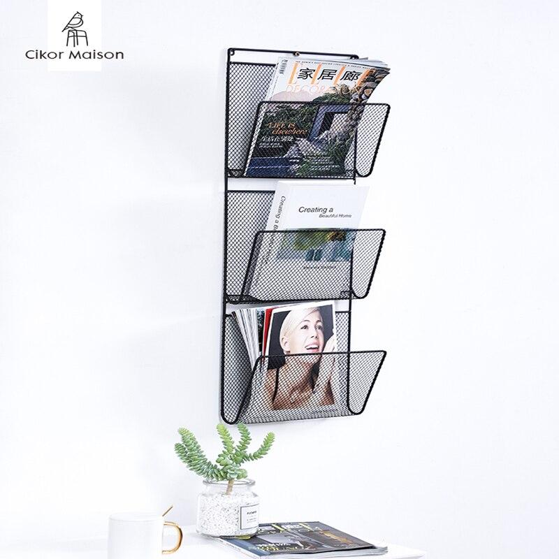 Nordic Ins Iron Wall Bookshelf Concise Modern Wall-mounted Magazine Newspaper Creative Bookshelf