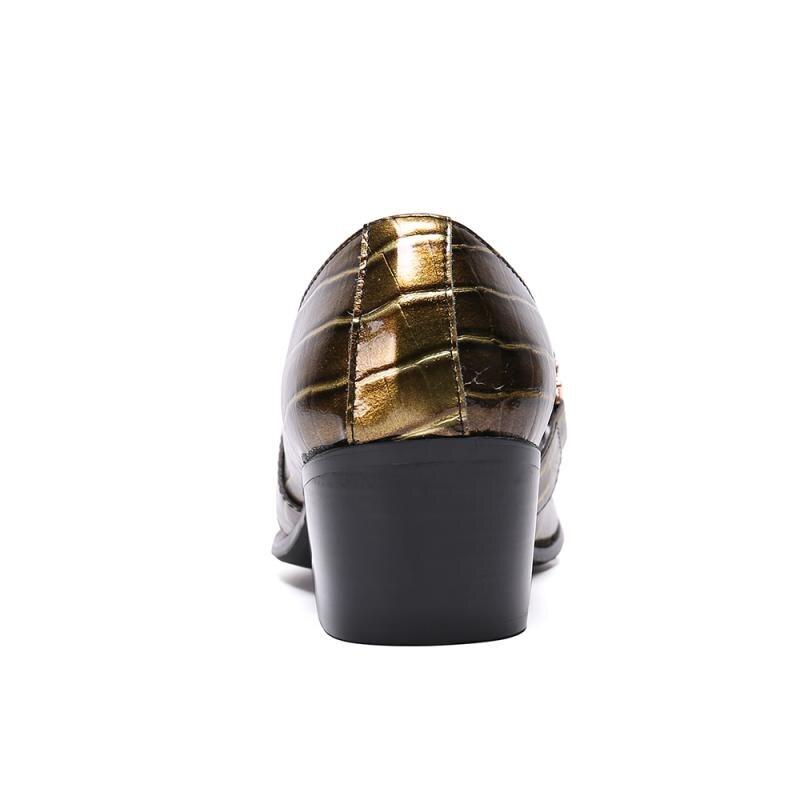 Мужские туфли с острым носком золотистого цвета мужские деловые туфли на высоком каблуке туфли без застежки Роскошные вечерние туфли смокинги из лакированной кожи; большие размеры 37 46 - 4