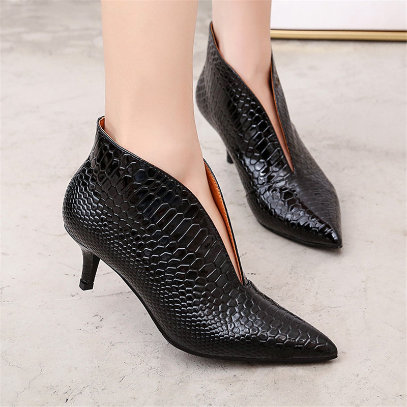 Snake Patent Leather Stilettos Pumps Women Shoes Tip Head V Mouth High Heels Women Shoes 2020 Spring Small Thin Heel Lady Pumps (11)