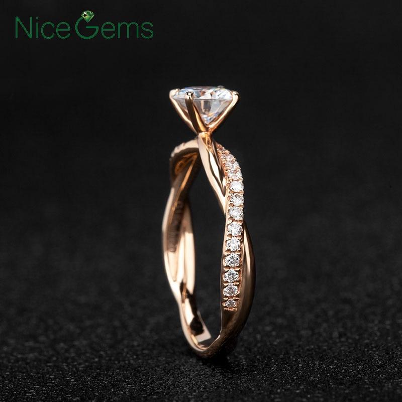 NiceGems 14k Rose Gold Moissanite แหวนหมั้นแหวน Center 2ct หรือ 1ct Moissanite Diamond แหวนสำเนียงผู้หญิงเครื่องประดับงานแต่งงาน-ใน ห่วง จาก อัญมณีและเครื่องประดับ บน   1