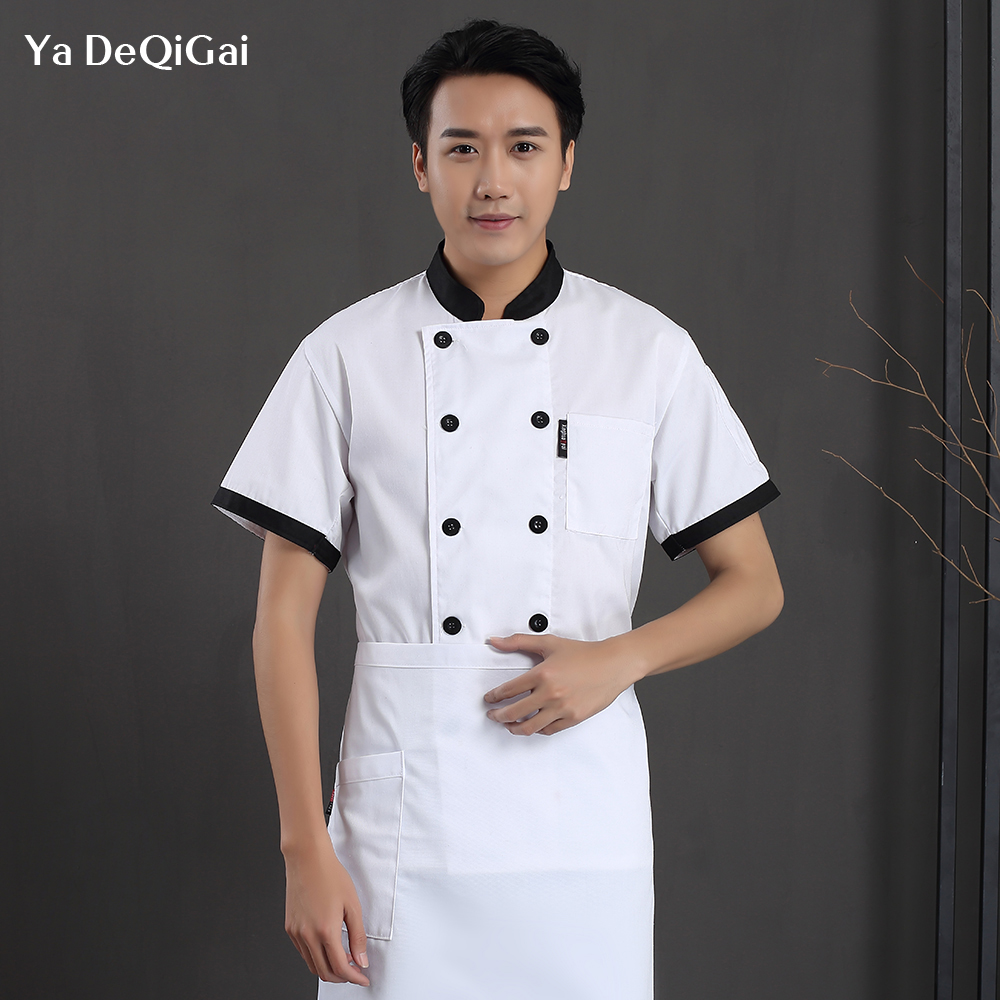 Short Sleeve Restaurant Chef Uniform Hotel Kitchen Working Clothes Cafe Hotel Chef Jacket Waiter Workwear Catering Chef Shirts