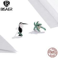 BISAER Coconut Trees & Toucans Stud Earrings 925 Sterling Silver Green Zircon Enamel Small Earrings