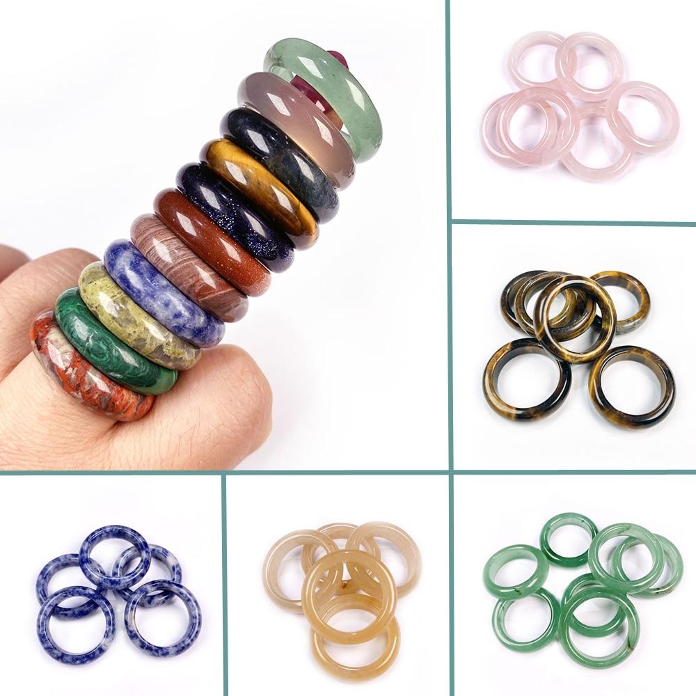 Atacado 1pc pedra natural ágata anéis de cristal para mulheres homens jóias requintadas unisex tigre olho dedo anel presente largura 6mm