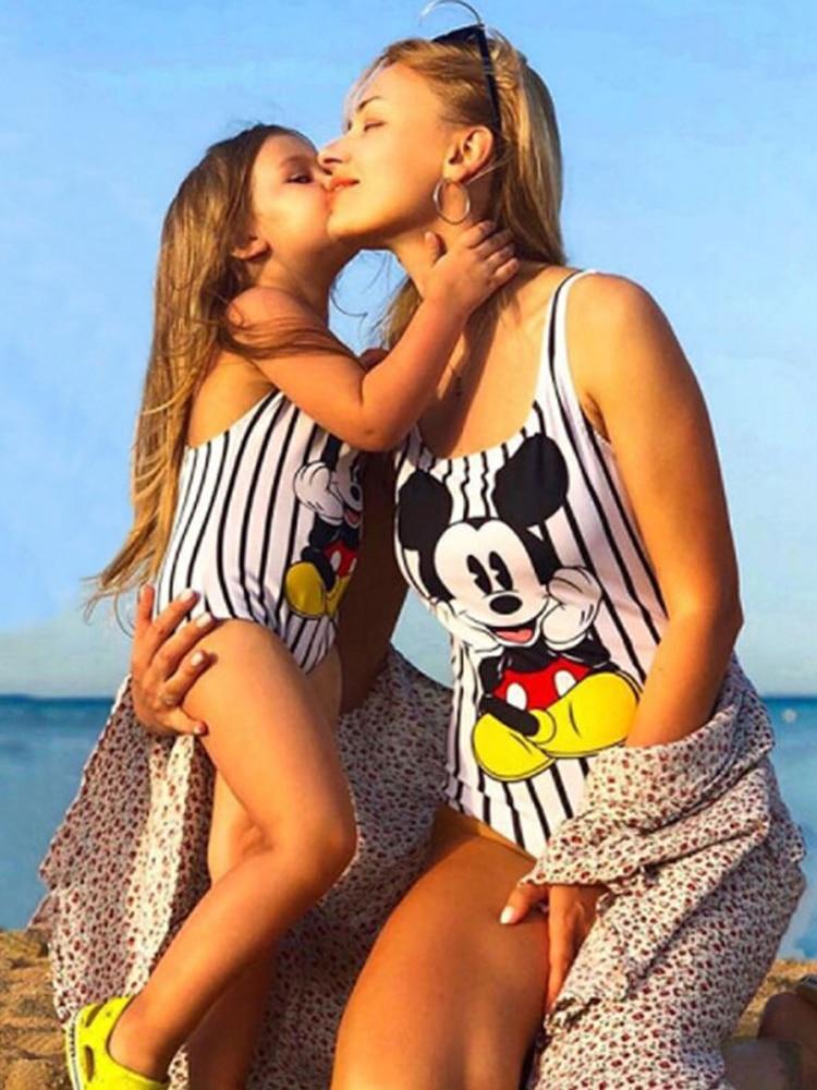 Family Matching Mother Girl Swimwear Family Matching One Piece Swimsuits Beachwear Cute Cartoon Print Sporty Monokini Bikini 2
