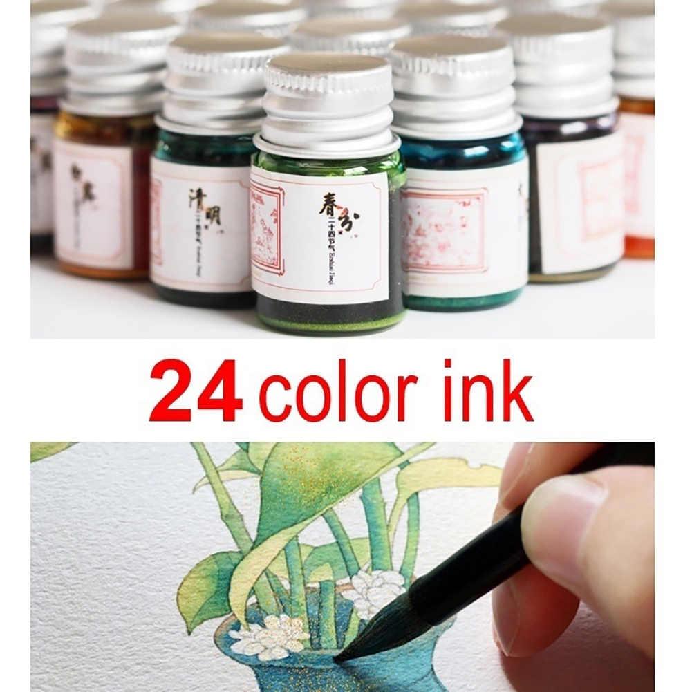 5 ML/หมึก Handmade Gold แป้งสี Fountain ปากกา 24 สีตัวอักษรการเขียนภาพวาด Graffiti Non CARBON