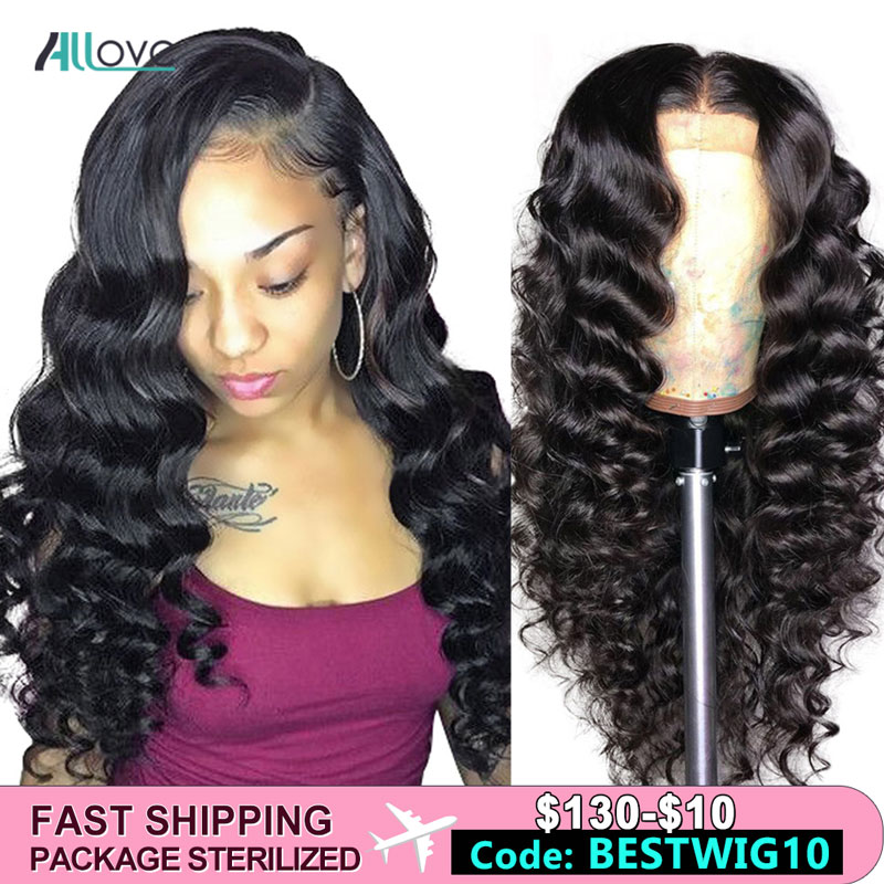 Allove Loose Deep Wave Lace Front Human Hair Wigs For Black Women Pre Plucked With Baby Hair Remy Brazilian Lace Front Wig