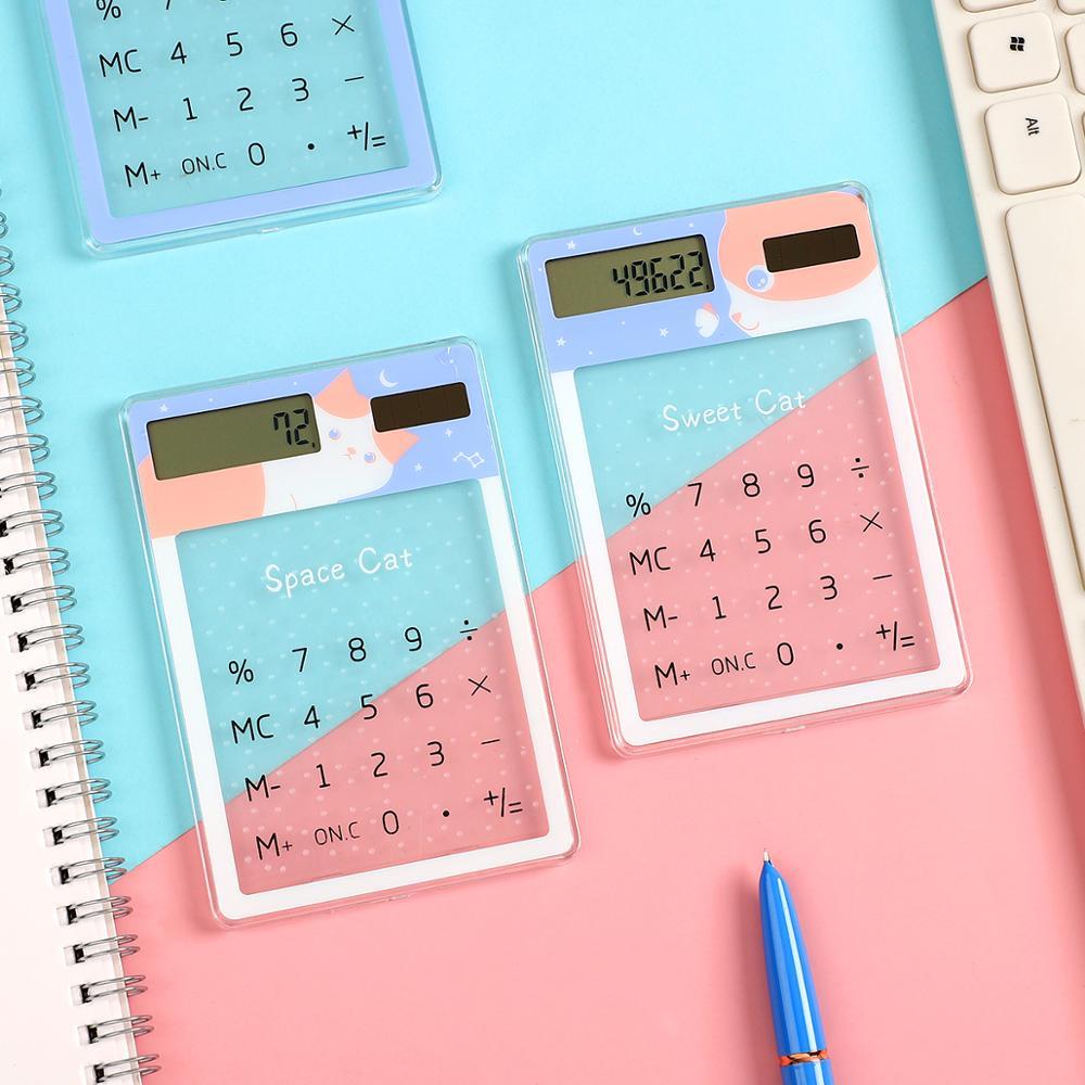 Transparent Cute Cartoon 8-digit Calculator Solar Energy Mini Portable Calculator School Supplies Kawaii