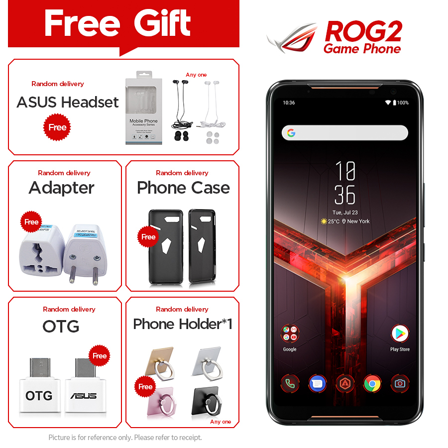 """2019New Asus ROG Phone II ZS660KL Mobile Phone 12GB 512GB Snapdragon855+ 6.59""""1080x2340P 6000mAh 48MP NFC Android9.0 ROG Phone 2"""