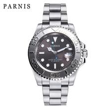 Bracelet Watch-Calendar Mechanical Miyota 8215 Parnis 40mm Automatic Clock Silver-Case