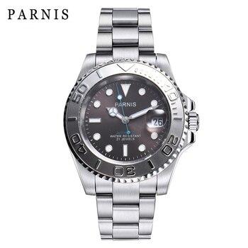 PARNIS 40mm Silver Case Mechanical Mens Watch Calendar Stainless Steel Bracelet Miyota 8215 Automatic Men Watches 2020 Man Clock - discount item  36% OFF Men's Watches