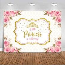 Arrière plan de princesse couronne dorée, accessoire de décoration pour studio photo, arrière plan de fête à fleurs roses