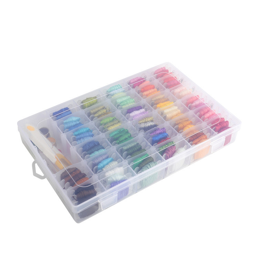 Thread Organizer Embellishments 36 Grids Bobbin Spools Crafts Clear Holder Storage Case Portable Sewing Supplies Home Arts