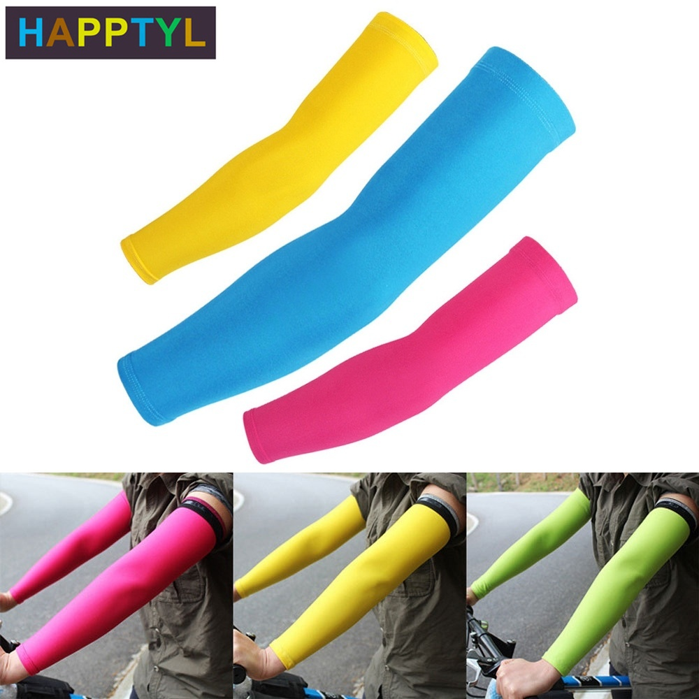 HAPPTYL 1Pair UV Protection Arm Sleeves With Anti-Slip Tattoo Covers Compression Sunblock Ice Silk Cooling Athletic Sleeves