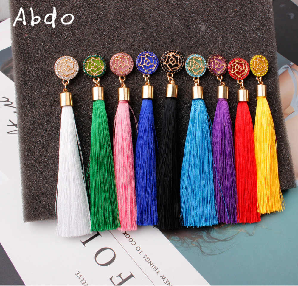 Abdo Bohemian Crystal Tassel Drop Earrings For Women Female Fashion Ethnic Long Red White Fringe Dangle Earring 2019 Jewelry