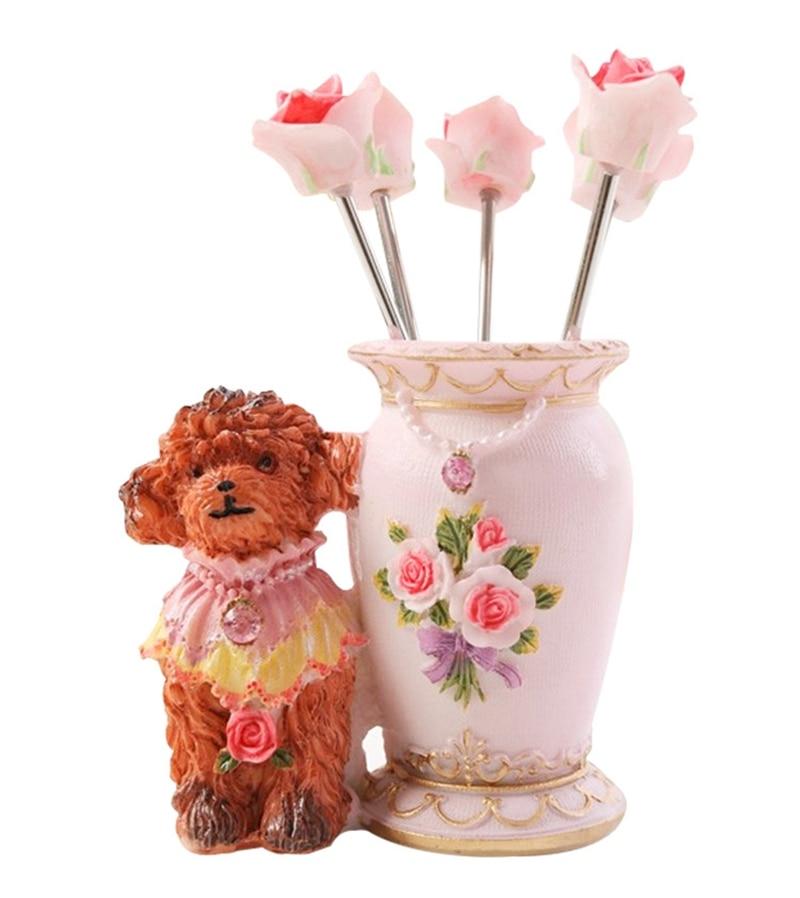 Roztomilý medvídek nádherné růže z nerezové oceli ovoce vidlička oblek kreativní dort dezert vidlice míchat bar hodnota sada domácí dekorace