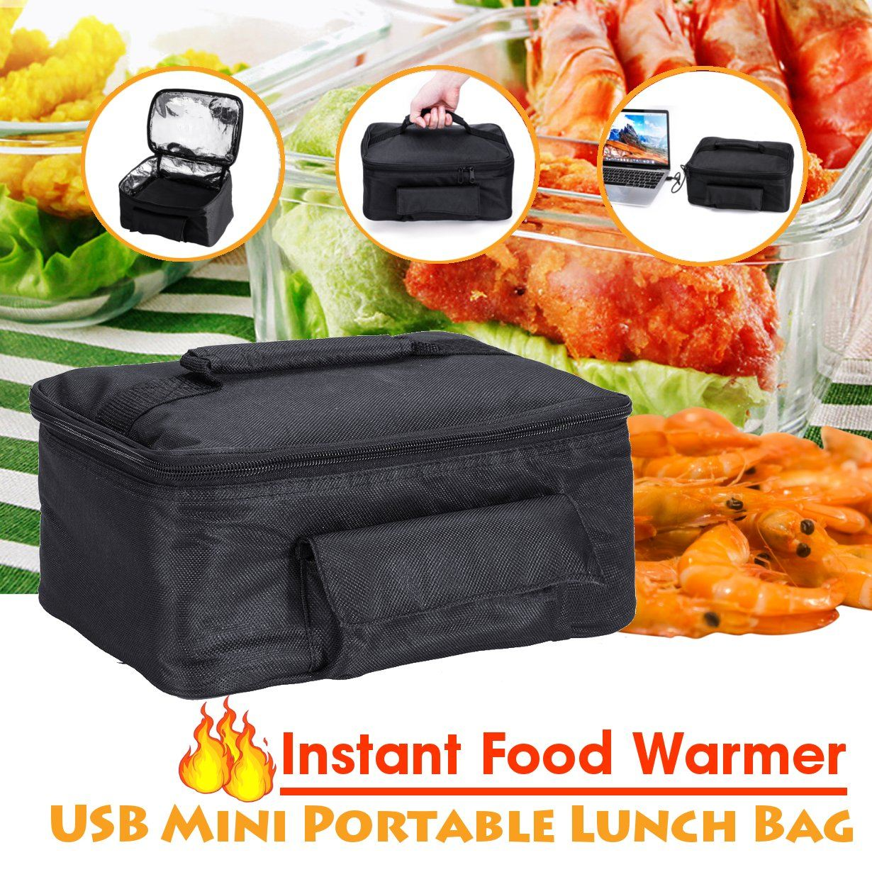 USB Mini Personal Portable Lunch Oven Bag  Food  Warmer Electric Oven Heating Lunch Box Vehicle/Household