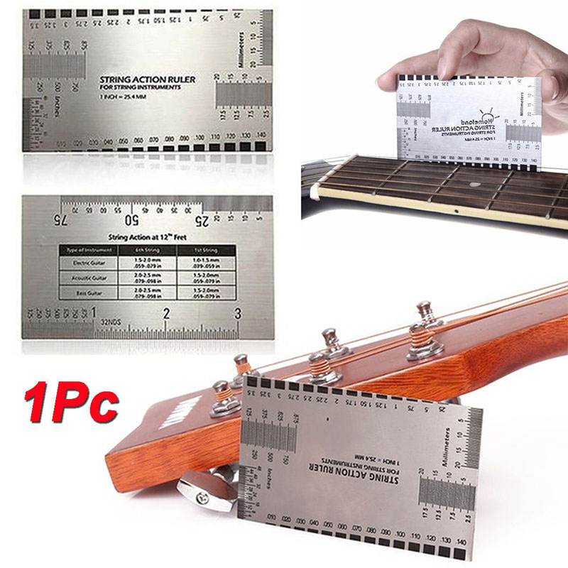 String Action Gauge Ruler Guide Setup Guitar Measuring Fork Bass Luthier Tool Saddle Slot Depth Nut Height Guitar Accessories