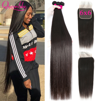 Queenlike 6*6 Cierre de encaje y extensiones de cabello humano con cierre de 6x6 extensiones de pelo ondulado brasileño recto 3 paquetes con cierre