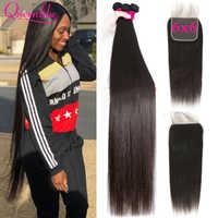 Queenlike-extensiones de cabello humano con cierre de encaje, extensiones de pelo ondulado brasileño, 6x6, 3 mechones con cierre