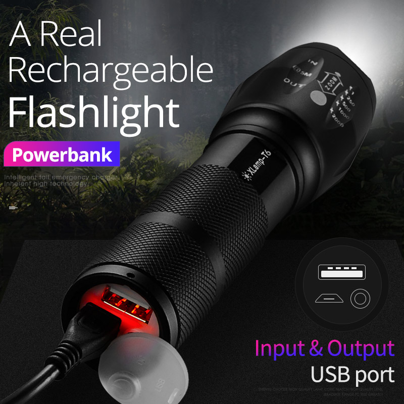 SHENYU Powerful Rechargeable Mini LED Flashlight USB Direct Charge Powerbank Cree T6 Torch Tactical 18650 Lantern Hiking Camping