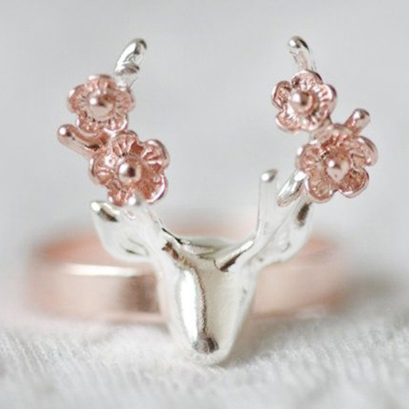 Vintage Rose Gold Silver Color Christmas Deer Rings Bague For Women Girl Christmas Party Gifts Anillos