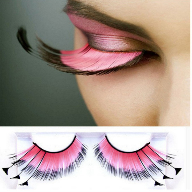 Happy 2019 Wearing Big Colorful Cheap Feather Eyelashes For Halloween Costume False Eyelashes Makeup Eye Lashes Extension Hot