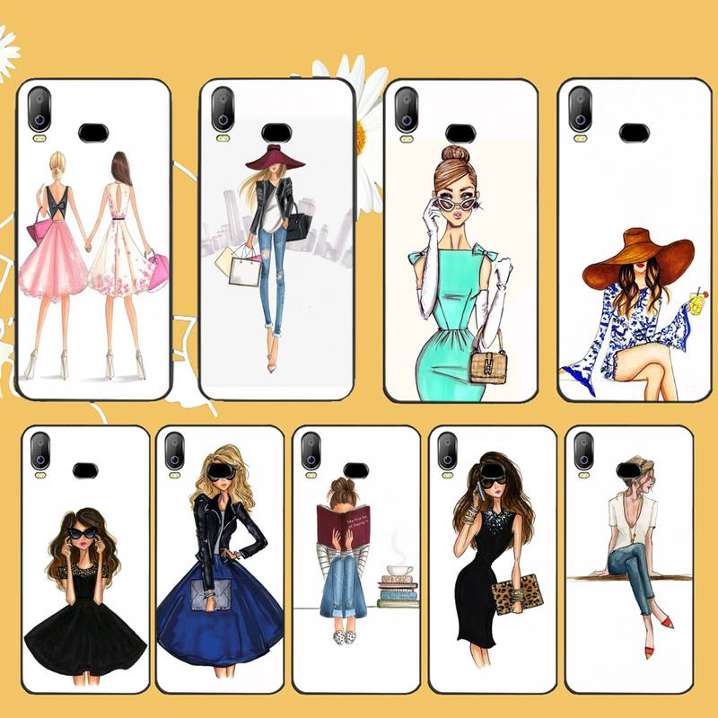 PENGHUWAN Beautiful Love Dress Shopping Girl black Phone Case Cover Hull For Samsung A10 A20 A30 A40 A50 A70 A71 A51 A6 A8 2018 image